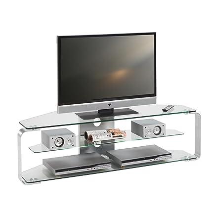 Jahnke TV-rack CU-MR(incl. Iluminación) - aluminio/vidrio - 140 cm