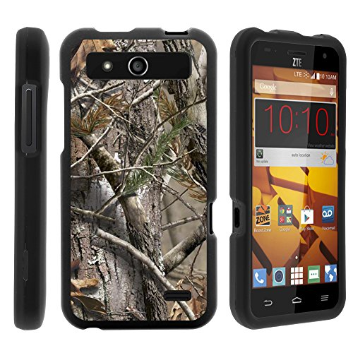 ZTE Speed Phone Case - Full Body Armor Snap On Hard Case Protector Cover with Customized Design for ZTE Speed N9130 Boost Mobile from MINITURTLE Includes Clear Screen Protector and Stylus Pen - Tree Bark Hunter Camouflage