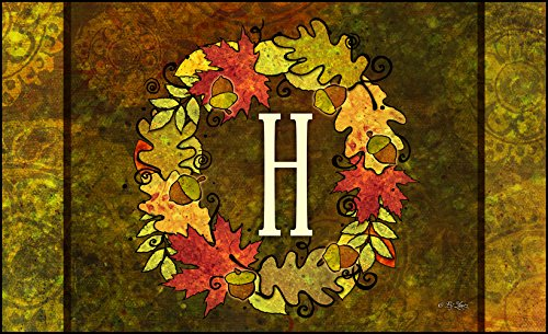Toland Home Garden Fall Wreath Monogram H 18 x 30-Inch Decorative USA-Produced Standard Indoor-Outdoor Designer Mat 800127