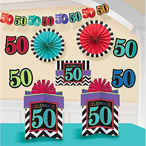 Amscan Lively Decorating Kit with 50's Celebration Theme, Red/Cyan Blue/Clue/Yellow Green
