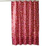 S-ZONE Western Designer Shower Curtain,For Bathroom Decor,72-Inch by 72-Inch,Red Curved