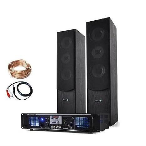 Electronic Star Set hifi stereo avec ampli home cinema et pack d'enceintes colonnes 3 voies (USB,SD,MP3,2000W de puissance maximale)