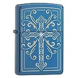 Zippo Elegant Cross Design High Polish Blue Finish (Color: Sapphire, Tamaño: One Size)