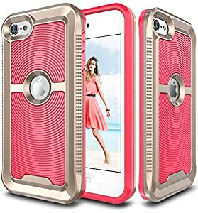 iPod Touch 6 Case, E LV iPod Touch 6 - Hybrid [Scratch/Dust Proof] Armor Defender Slim Shock-Absorption Bumper Case for iPod Touch 5 / iPod Touch 6 - RED MELON / GOLD