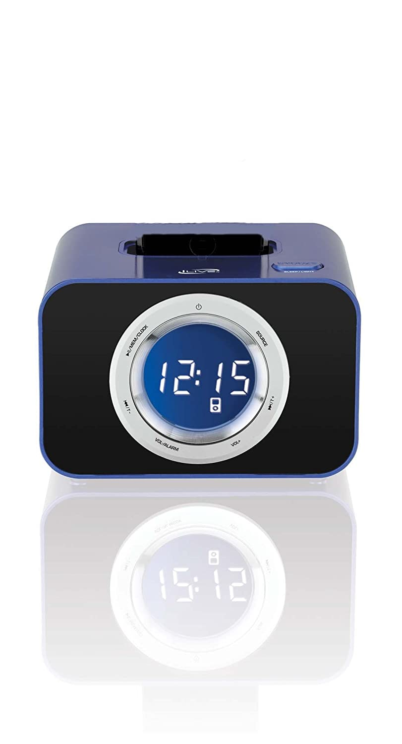 iLive ICP211BU Digital Clock with FM Radio, Alarm and iPod/iPhone Dock (Blue) sangean am fm rds atomic clock radio with ipod dock