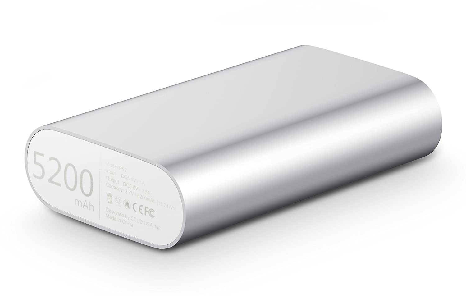 Fremo® P52 5200mAh Power Bank External Battery Charger For iPhone 5s 5c 5,iPad Air mini, Galaxy S5 S4, Note 3 2,Galaxy Tab, Nexus, HTC One,One 2 , PS Vita and more-Silver