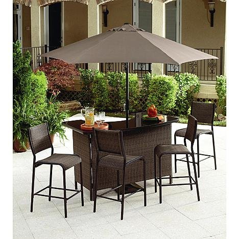 Grand Resort 5 Piece Outdoor Bar Set. This Patio Furniture Wicker Bar Bundle is the Perfect Accent to Any Backyard Patio or Deck Guaranteed.