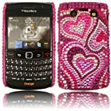 Diamante Diamond Bling Crystal Hardback Case Cover For Blackberry 9700 9780 Bold / Blossoming Hearts Design