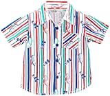 Beebay Boys Cotton Skate Stripe Print Shirt (C4913104520923_Red and Blue_0-3M)
