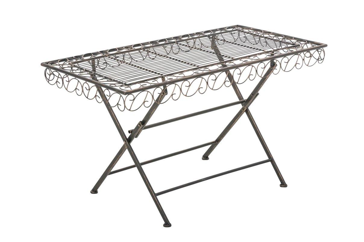 CLP Metall-Gartentisch JOSEFA, 100 x 50 cm, Landhausstil, lackiertes Eisen – bis zu 6 Farben wählbar bronze günstig