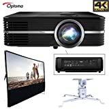 Optoma UHD51A Amazon Alexa Enabled 4K Ultra High Definition Projector All in One Home Theater Bundle