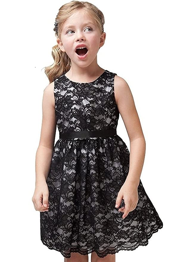 Little Girls Party Dress Sleeveless Lace Overlay Flowers Girls Dresses