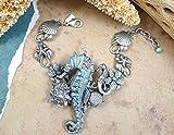 Swarovski Crystal and Enamel Sterling-Silver-Plated Brass Adjustable Seahorse Bracelet