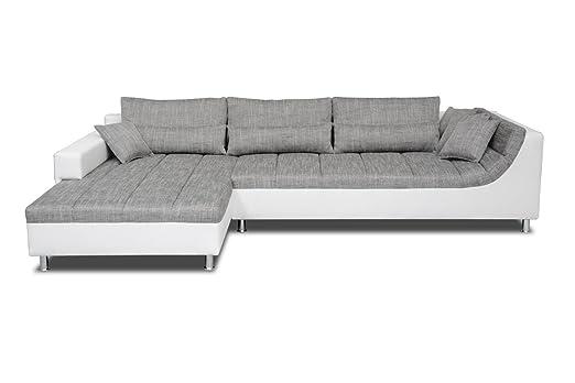 Ecksofa Lauro mit Ottomane links in grau - weiß - Abmessungen: 310 - 204 cm (L - B)