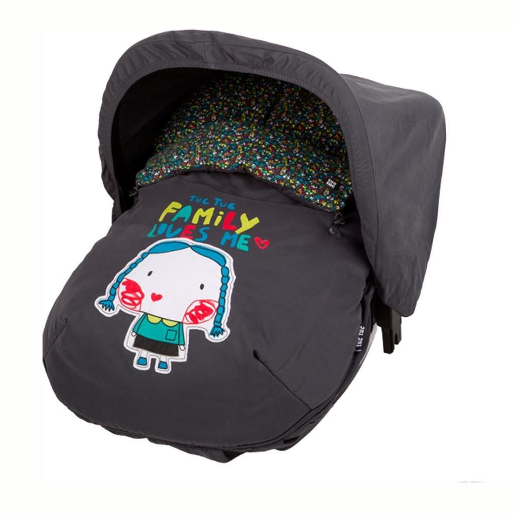 Tuc Tuc My Family Girl's Car Seat Mini Bunting Bag, Universal Footmuff. Grey. hanban my chinese my family for adults level 3 mini mp3 cd