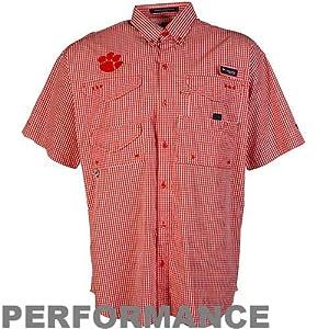 NCAA Columbia Clemson Tigers Gingham Super Bonehead Button-Down Shirt - Orange White by Columbia