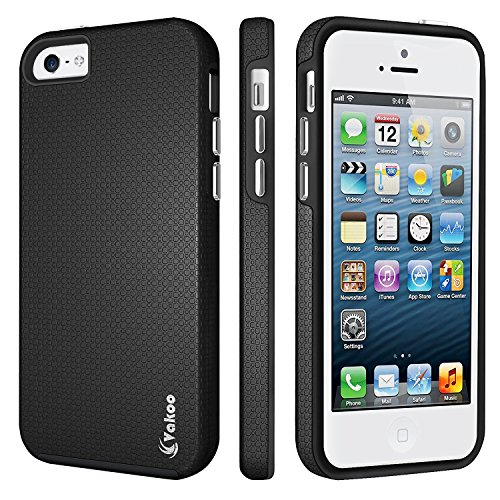 iPhone 5 Funda, iPhone 5s Funda, Vakoo a Prueba de Choques Case Doble Capa de Tough Armor Anti-Shock de Proteccion para Apple iPhone 5 / 5s / SE, Negro