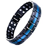 Feraco Mens Titanium Magnetic Bracelet with Double Strong Magnet for Arthritis Pain Relief, Black Blue (Color: Black)