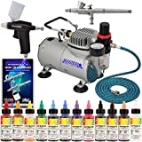 Super Deluxe Master Airbrush Twin(2) Airbrush Cake Decorating Airbrush Kit with 12 Chefmaster 2 Fl Oz Airbrush Food Color Set, Master Airbrush 1 Year Warranty Air Compressor and 6 Foot Air Hose and Now Includes a (FREE) How to Airbrush Training Book to Get You Started