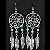 Generic Dreamcatcher Earrings Alloy Feather Tassel Earrings Mini Turquoise Earrings