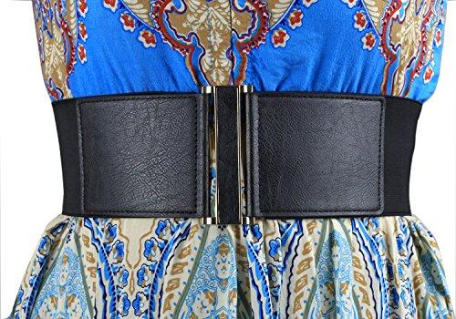 "Modeway® Lady 3"" Leather Belts Metal Interlock Buckle -Stretch Cinch Belt Knitted Wide Belt Decoration For Women (Medium,Black)B1-2"