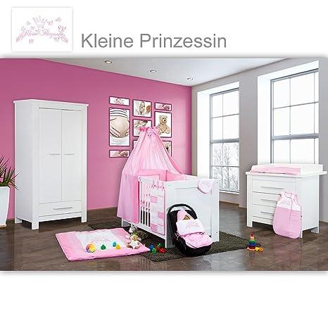 Babyzimmer Enni in weiss 10 tlg. mit 2 turigem Kl. + Textilien von Kleine Prinzessin in Rosa