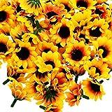 HousweetyDIY 飾りつけ ディスプレイや ハンドメイドに 造花 かわいい ひまわり ラシルク花(花のみ) たっぷり 100個セット