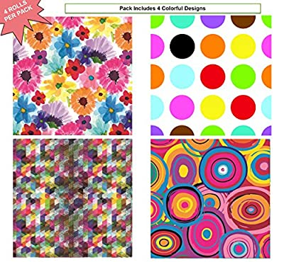 "Premium Birthday or All Occasion Shapes and Flower Gift Wrap Heavy Weight Gloss Finish Wrapping Paper for Women, Men, Boys, Girls, Kids 4 Different Designs of 5ft X 30"" Rolls / Per Pack Set Included!"