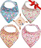 Baby Bandana Drool Bibs for Girls, Vintage Floral, 4-pack of Absorbent Organic Cotton & Pacifier Clips Snuggle Blanky & E-book, Premiuim Gift Sets for Your Baby Love By TamTchu