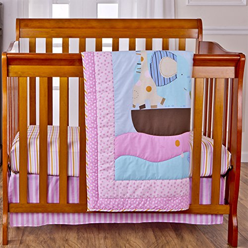 Dream On Me 3 Piece Reversible Portable Crib Bedding Set, Sea Friends