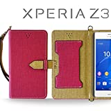 XPERIA Z3 SO-01G SOL26 401SO ケース JMEIオリジナルカルネケース VESTA ホットピンク Sony docomo au softbank エクスペリア z3 スマホ カバー スマホケース 手帳型 スリム スマートフォン
