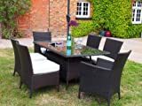 Barcelona Rectangular Brown Rattan Garden Furniture Table and 6 Chairs eating Set with the help of FREE COVER WORTH £60 FOR A confined TIME