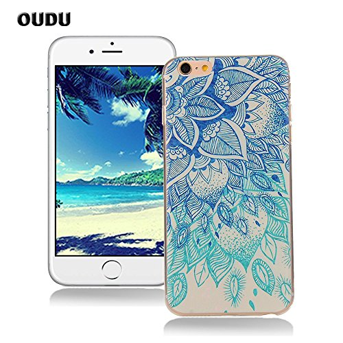OuDu Cover iPhone 6/6S (4.7 pollici) Custodia TPU Silicone Cassa Gomma Soft Silicone Case Bumper Custodia Morbida Cover Ultra Sottile Leggero Custodia Flessibile Liscio Caso Anti Graffio Anti Scossa Anti Scivolo - Loto Blu