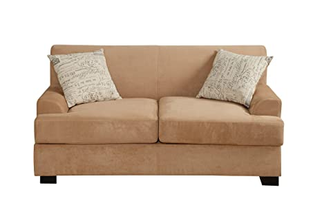 Upholstered Loveseat Tan Microsuede by Poundex