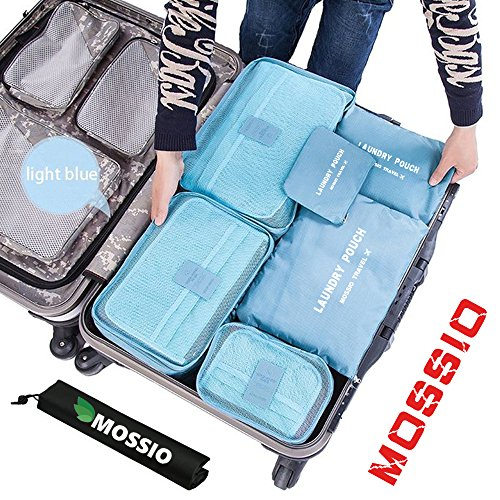 Packing Organizer,Mossio Luggage Organizer 7 Piece Various Size Set Compression Pouches Organizers Set Light Blue