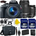 Canon EOS Rebel SL1 18.0 MP CMOS Digital SLR Full HD 1080 Video Bundle + Canon EF-S 18-55mm IS STM + Canon EF-S 55-250mm IS STM + 2pc High Speed 32GB Memory Cards + UV Filter + 9pc Accessory Kit