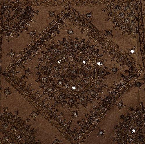 Imagen 5 de Tamaño de rosca doble bordado y trabajo Mirror Brown Colcha de algodón de tamaño 86 x 102 pulgadas