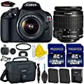 Canon EOS Rebel T5 18MP EF-S Digital SLR Camera Bundle + Canon EF-S 18-55mm IS Lens + 2pc High Speed 32GB Memory Cards + UV Filter + Extra Battery + Deluxe Canon Case + 9pc Accessory Kit