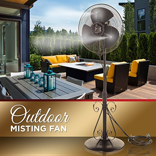 Outdoor Misting Fan - 3 Speed - All Weather Pedestal Fan with Variable Mist