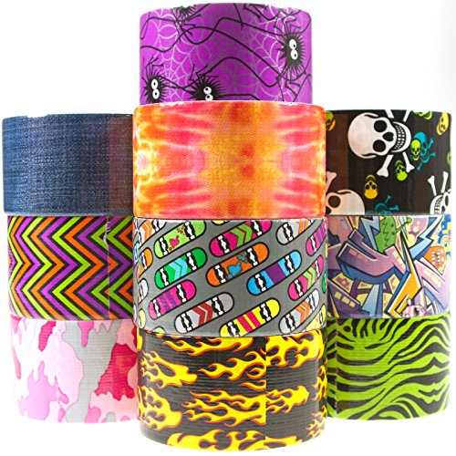 10-Rolls-Duck-Duct-Tape-Crafts-Skateboard-Skull-Flame-Camo-Spider-Denim-Chevron