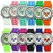 HeroNeo® New Women Girl Lady Geneva Silicone Crystal Stone Quartz Jelly Wrist Watch (White)