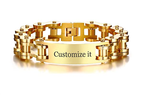 XUANPAI Personalized Custom Masculine Stainless Steel Motorcycle Biker Chain Link Bracelet,Punk Rock Style