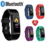 CNPGD Smartwatch Bracelet Fitness Tracker Sports Waterproof Color Touchscreen Heart Rate & Blood Pressure Monitor Pedometer Compatible for IOS IPHONE Android (Samsung LG) for Kids, Men and Women Black (Color: Black)