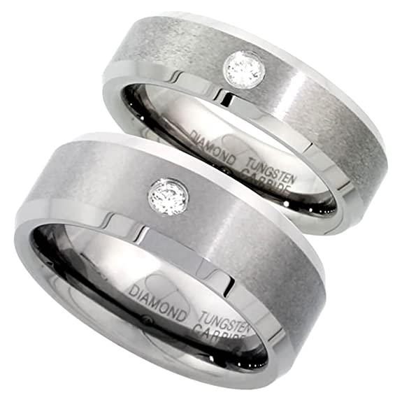 Revoni Tungsten Carbide Diamond Wedding Band Ring 8 & 6 mm Set for Him & Her 0.137 cttw Beveled Edges, sizes J-R & P-Z+2