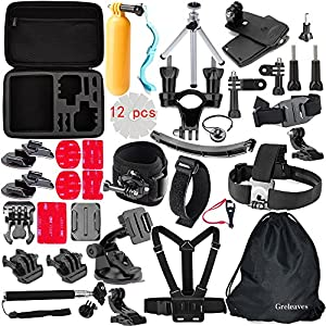 Greleaves 50 in 1 Accessories Bundles Kit with Case for Gopro Hero 4 Session,Gopro Hero 4 Black, Gopro Hero 4 Silver,Gopro Hero 4/3+/3/2/1 Camera Accessory Kit for SJ4000 SJ5000 SJ6000