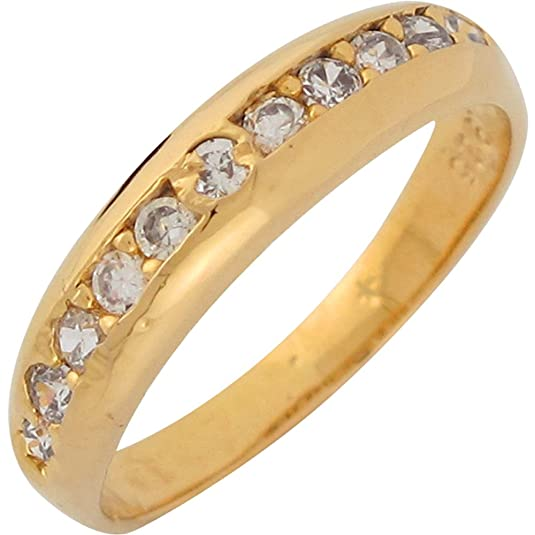 14ct Yellow Gold White CZ Simple Elegance Ladies Wedding Anniversary Ring