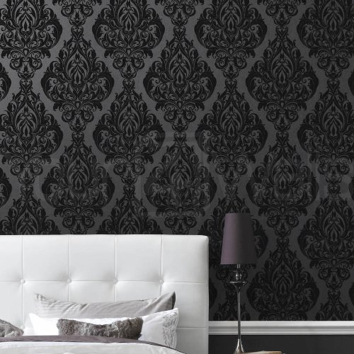 LLB Real Flock Black Damask Wallpaper 'Kinky Vintage' Full Roll