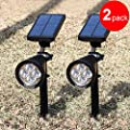 {New Version 2 Modes} 200 Lumens Solar Wall Lights / In-ground Lights, 180°angle Adjustable and Waterproof 4 LED Solar Outdoor Lighting, Spotlights, Security Lighting, Path Lights for Patio, Deck, Yard, Garden, Driveway, Stairs, Pool Area, Etc.