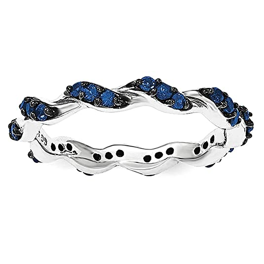 Sterling Silver Rhodium-plated Created Sapphire Twisted Eternity Ring