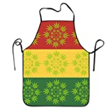 Rasta Weed Cannabis Leaves Unisex Cooking Kitchen Aprons Chef Apron Bib by YUANDAN (Color: APRONs0488)